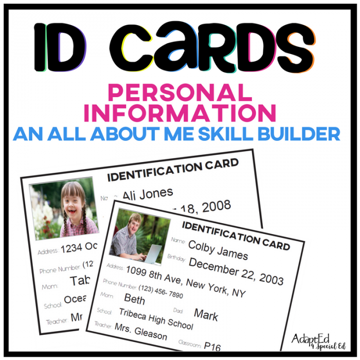 Personal Information ID Cards are designed to provide students with special needs an opportunity to find the personal information they cannot commit to memory.  Includes a set with visual supports, these ID Cards are fully editable and designed for you to make them your own. You can even easily add in your own photograph.