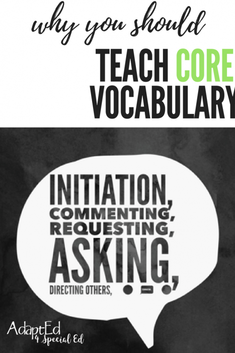 Why you should teach Core Vocabulary in your special education classroom.  With CORE words you can teach your students: initiation, commenting, requesting, asking and more.  Adapted 4 Special Ed