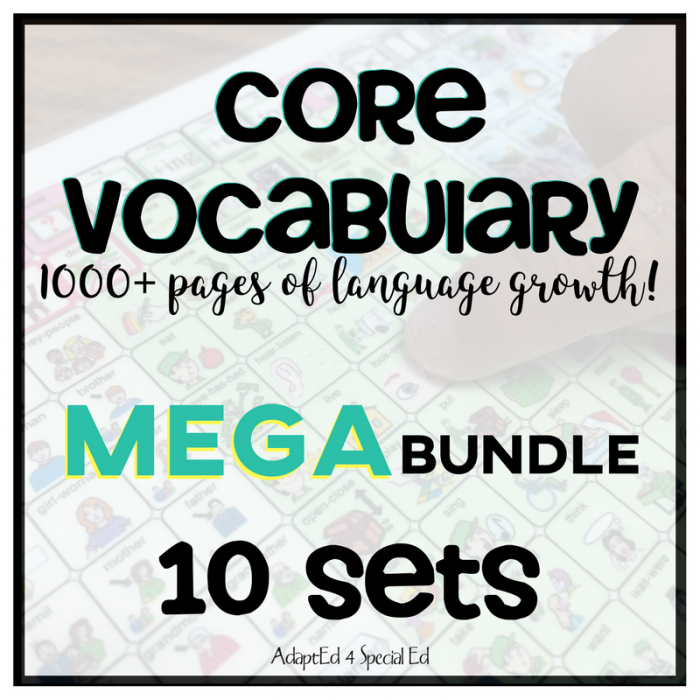 CORE Vocabulary  makes up the majority of communication.  80% of of what we say are CORE words.  Taking the time to systematically teach your special education students versatile core words will get your kiddos communicating!